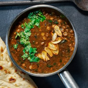 Chickpea and Chana Saag daal, with fresh flatbread